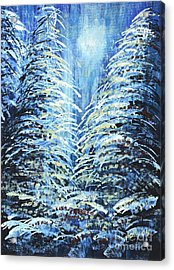 Acrylic Print featuring the painting Tim's Winter Forest by Holly Carmichael