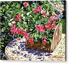 Tin Flower Box On Wicker Table Acrylic Print