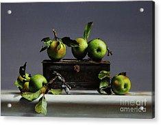 Tin With Wild Apples Acrylic Print by Larry Preston