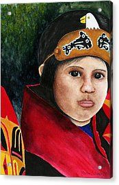 Tinglit Native Girl Acrylic Print by Mary Gaines