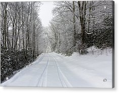 Acrylic Print featuring the photograph Tire Tracks In Fresh Snow by D K Wall