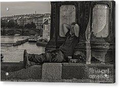 Tired Prague Tourist Acrylic Print