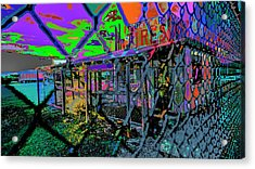 Tires And Broke Behind The Fence Acrylic Print by Kenneth James