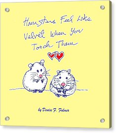 Acrylic Print featuring the drawing Title Page For Hamster Book by Denise Fulmer