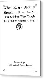 Title Page Of Margaret Sanger Acrylic Print