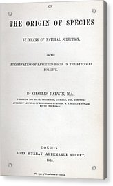 Title Page Of The Origin Of Species By Charles Darwin Acrylic Print by Charles Darwin