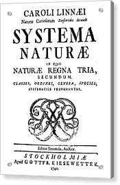 Title Page, Systema Naturae, Carl Acrylic Print by Science Source