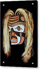 Tlingit Shark Mask In Color Acrylic Print by Cynthia Adams