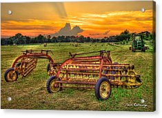 To Be Continued Hayfield Sunset Acrylic Print by Reid Callaway