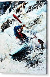 To Conquer White Water Acrylic Print by Hanne Lore Koehler