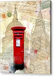 To London By Mail - Classic Post Box Acrylic Print