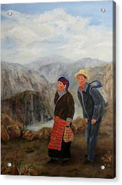 Acrylic Print featuring the painting To Market by Roseann Gilmore