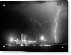 To The Right Budweiser Lightning Strike Bw Acrylic Print