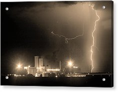 To The Right Budweiser Lightning Strike Sepia  Acrylic Print