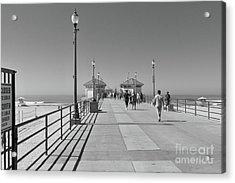 Acrylic Print featuring the photograph To The Sea On Huntington Beach Pier by Ana V Ramirez