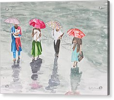 To Work In The Rain Acrylic Print by Betty-Anne McDonald