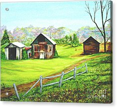 Tobacco Barns North Carolina Acrylic Print by Pauline Ross