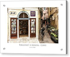 Acrylic Print featuring the digital art Tobaconist In Kerkyra - Corfu by Julian Perry