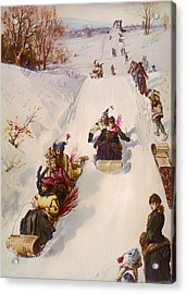 Tobogganing  Acrylic Print by Mountain Dreams
