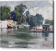 Today's Plein Air Workshop Demonstration At Wardell Boat Yard Acrylic Print