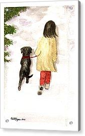 Together - Black Labrador And Woman Walking Acrylic Print