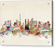 Acrylic Print featuring the painting Tokyo City Skyline by Bri B
