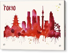 Tokyo Skyline Watercolor Poster - Cityscape Painting Artwork Acrylic Print by Beautify My Walls