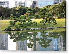 Tokyo Trees Reflection Acrylic Print by Carol Groenen