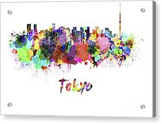 Tokyo V2 Skyline In Watercolor Acrylic Print by Pablo Romero