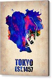 Tokyo Watercolor Map 2 Acrylic Print by Naxart Studio