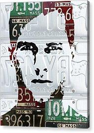 Tom Brady New England Patriots Massachusetts Recycled Vintage License Plate Portrait Original Acrylic Print