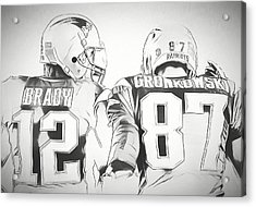 Acrylic Print featuring the drawing Tom Brady Rob Gronkowski Sketch by Dan Sproul