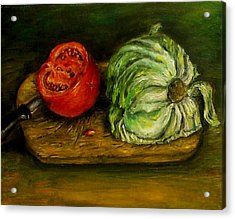 Tomato And Cabbage Oil Painting Canvas Acrylic Print by Natalja Picugina