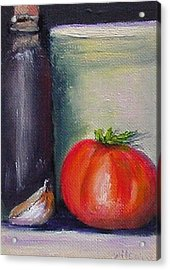Acrylic Print featuring the painting Tomato And Garlic by Fred Wilson