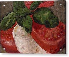 Tomato Basil And Mozarella Acrylic Print by Barbara Andolsek