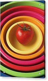 Tomato In Mixing Bowls Acrylic Print by Garry Gay