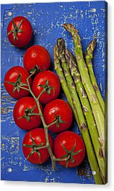 Tomatoes And Asparagus  Acrylic Print by Garry Gay