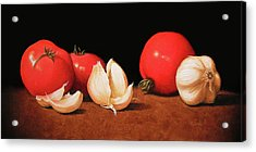 Tomatoes And Garlic Acrylic Print by Timothy Jones