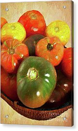Acrylic Print featuring the painting Tomatoes In A Basket Ap by Dan Carmichael