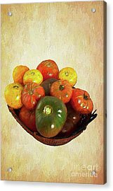 Acrylic Print featuring the painting Tomatoes In A Basket Wide Ap by Dan Carmichael
