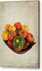 Acrylic Print featuring the photograph Tomatoes In A Basket Wide by Dan Carmichael