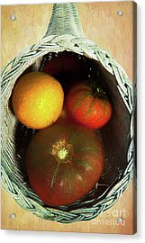 Acrylic Print featuring the painting Tomatoes In A Horn Of Plenty Basket 2 Ap by Dan Carmichael