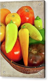 Acrylic Print featuring the photograph Tomatoes Peppers In A Basket by Dan Carmichael