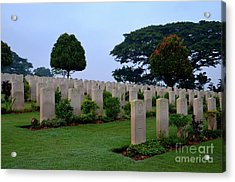 Tombstones Of Soldiers At Kranji Commonwealth War Cemetery Graveyard Singapore Acrylic Print