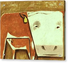 Acrylic Print featuring the painting Tommervik Cow Milking Calf Cow Art Print by Tommervik