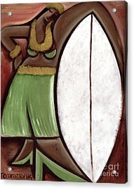 Acrylic Print featuring the painting Tommervik Hula Girl Surfboard Art Print by Tommervik