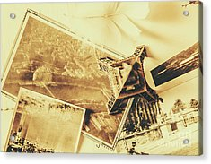 Toned Image Of Eiffel Tower And Photographs On Table Acrylic Print