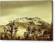 Toned View Of A Snowy Mount Gell, Tasmania Acrylic Print