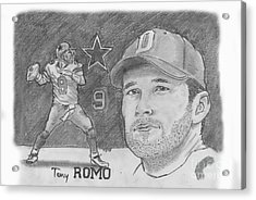 Tony Romo Acrylic Print by Chris  DelVecchio