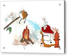Acrylic Print featuring the digital art Too Toasted Illustrated by Heather Applegate